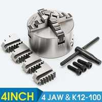 SANOU K12 100 4 Mandíbula Auto centralização do Mandril Torno Mandril 100 milímetros Endurecido Ferramenta Reversível|Mandril| |  -