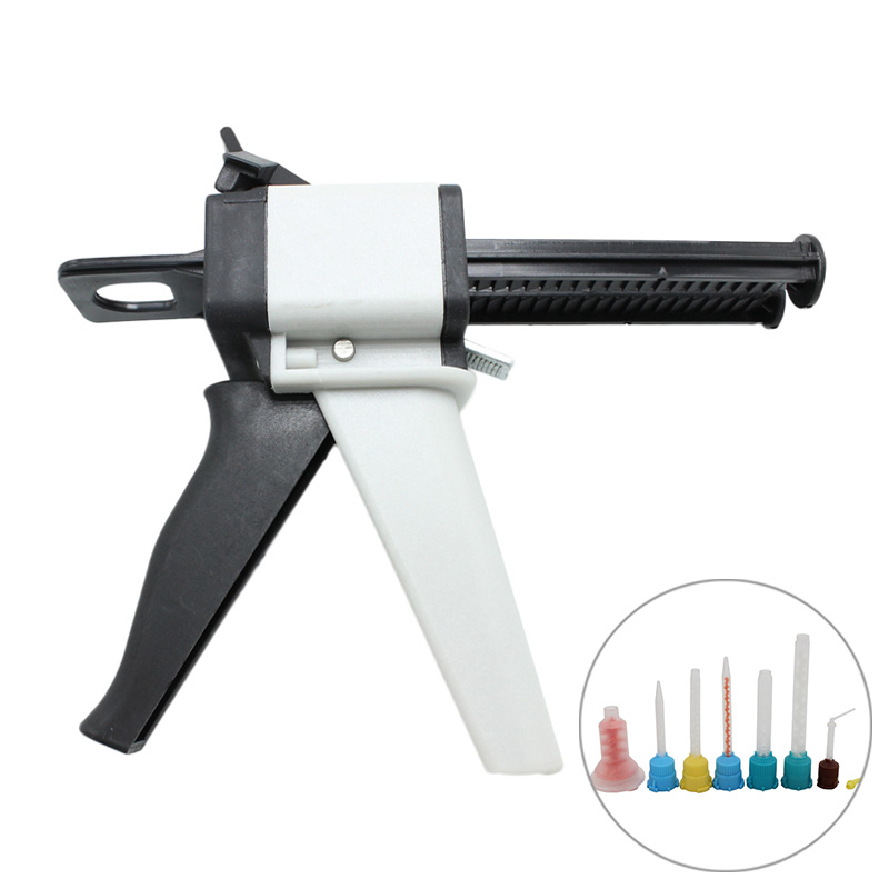 Universal Fitting Dental Impression Mixing Silicone Rubber Tray Dispenser Gun Dispensing Caulking 1:1 /1:2 50ml Dental Lab Tools