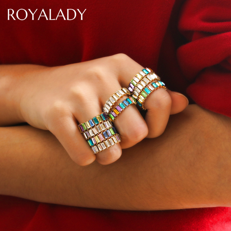 Boho Thin Baguette Rainbow Zircon Woman Ring Fashion Stack Crystal Stone Eternity Party Engagement Colorful Ring Wedding Jewelry