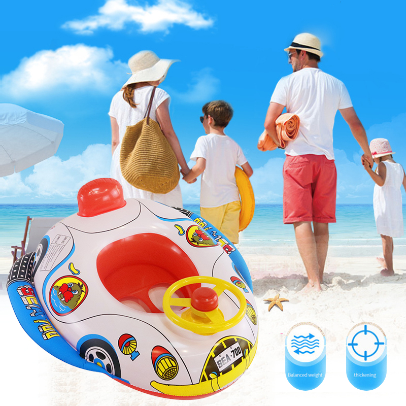 Baby Children Cartoon Safety Swimming Ring + Cushion Toddler Swimming Training Water Entertainment Swimming Pool Toy Seat Boat Bright And Translucent In Appearance
