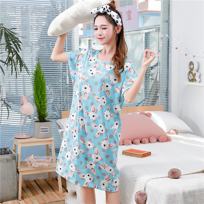 Sanderala Women Cartoon Sleepwear Print Dress Sexy Lingerie Milk Silk Cute Animal Nightgrown Strap Thin Female Nighty Underwear