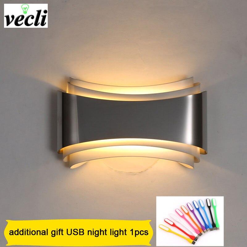 moderna lampada de parede led para o quarto 5 w arandela sala estar ac85 265v conduziu