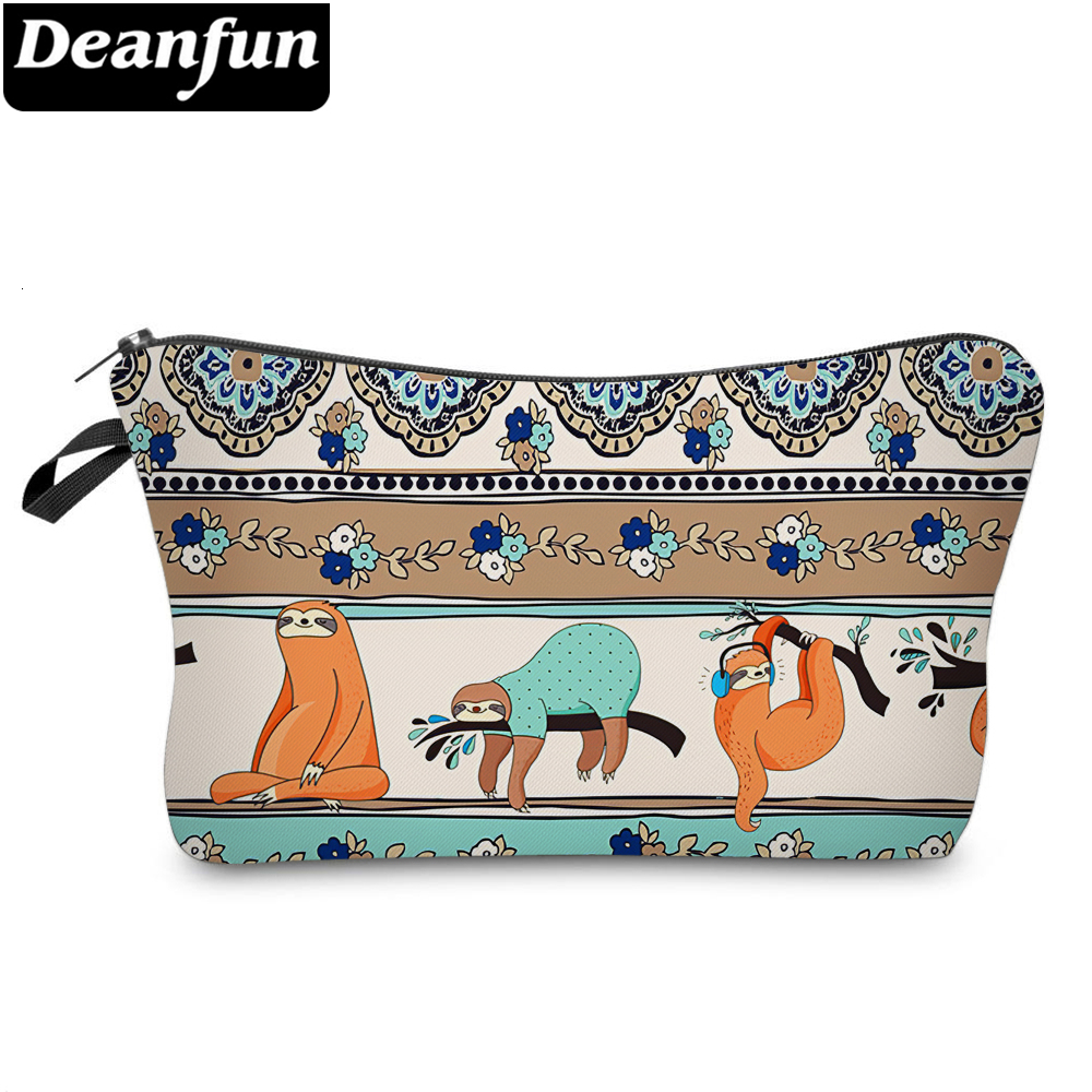 Deanfun Cute And Colorful Sloth Small Makeup Bag Waterproof Travel Cosmetic Bag For Women Accept Custom 51826