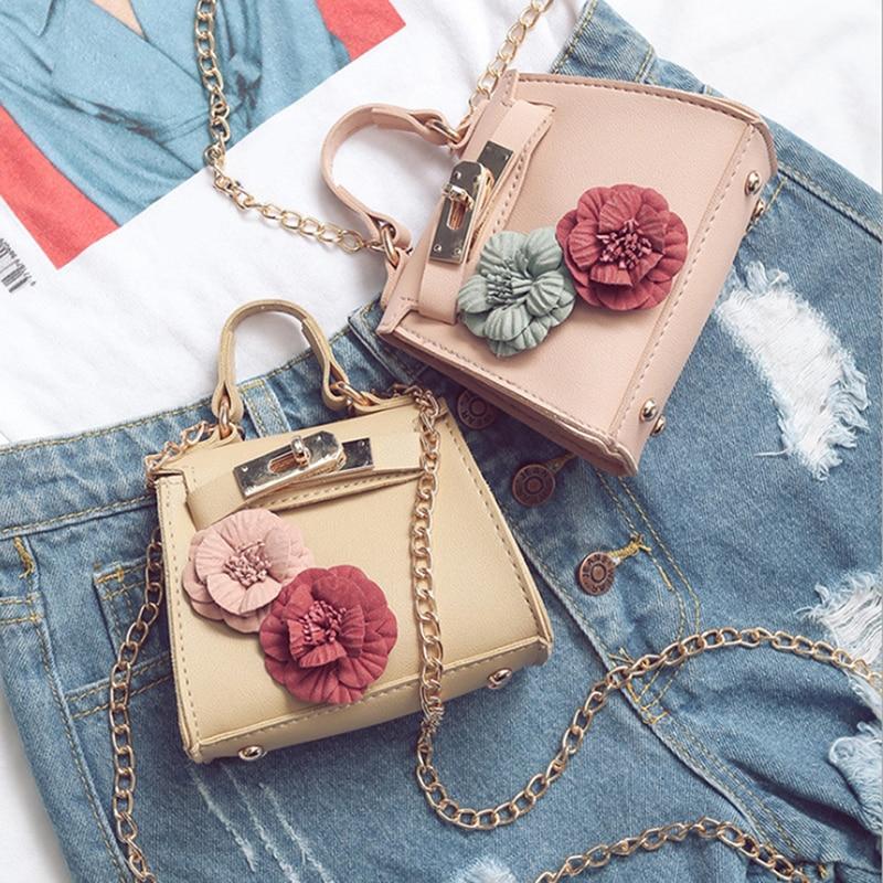 Women Mini Floral Handbag Shoulder Bag Chain Small Messenger Crossbody Bags Coin Wallet