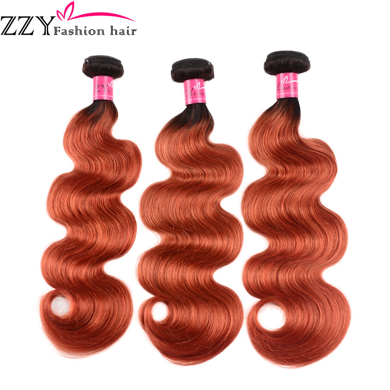 ZZY Ombre Brazilian Body Wave Hair Bundles T1B/350  Golden Blonde Non-remy Human Hair Weave Extensions