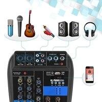 Портативный 4 канала Usb мини звуковая микшерная консоль аудио микшер усилитель Bluetooth 48 В фантомная мощность для караоке ktv матч Вечерние