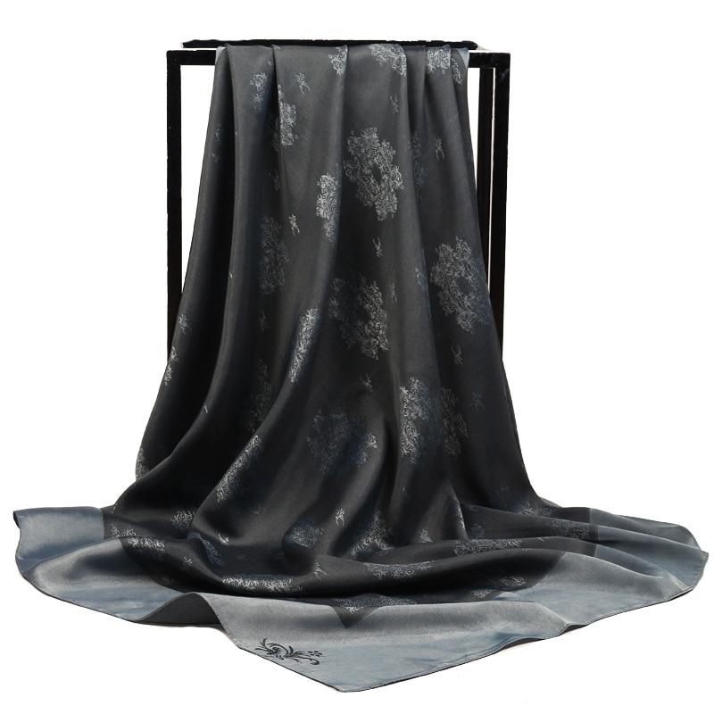 90cm Large Square Elegant Twill Jacquard Plain Color Women Silk Scarf Muslim Headscarf Silk Scarves Hijab Scarf Luxury Brand