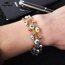 Bracelet en cristal plaqué or, bleu, cristal, breloque musulmane, bijoux de mode islamique, Bracelet en 3 yeux bleus turcs, Bracelets pour femme