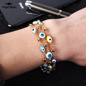 Image 1 - Gold Color Plated Blue Evil Eye Crystal Muslim Charm Islam Bracelets for Women Fashion Jewelry 3 Turkish Blue Eye Bracelet