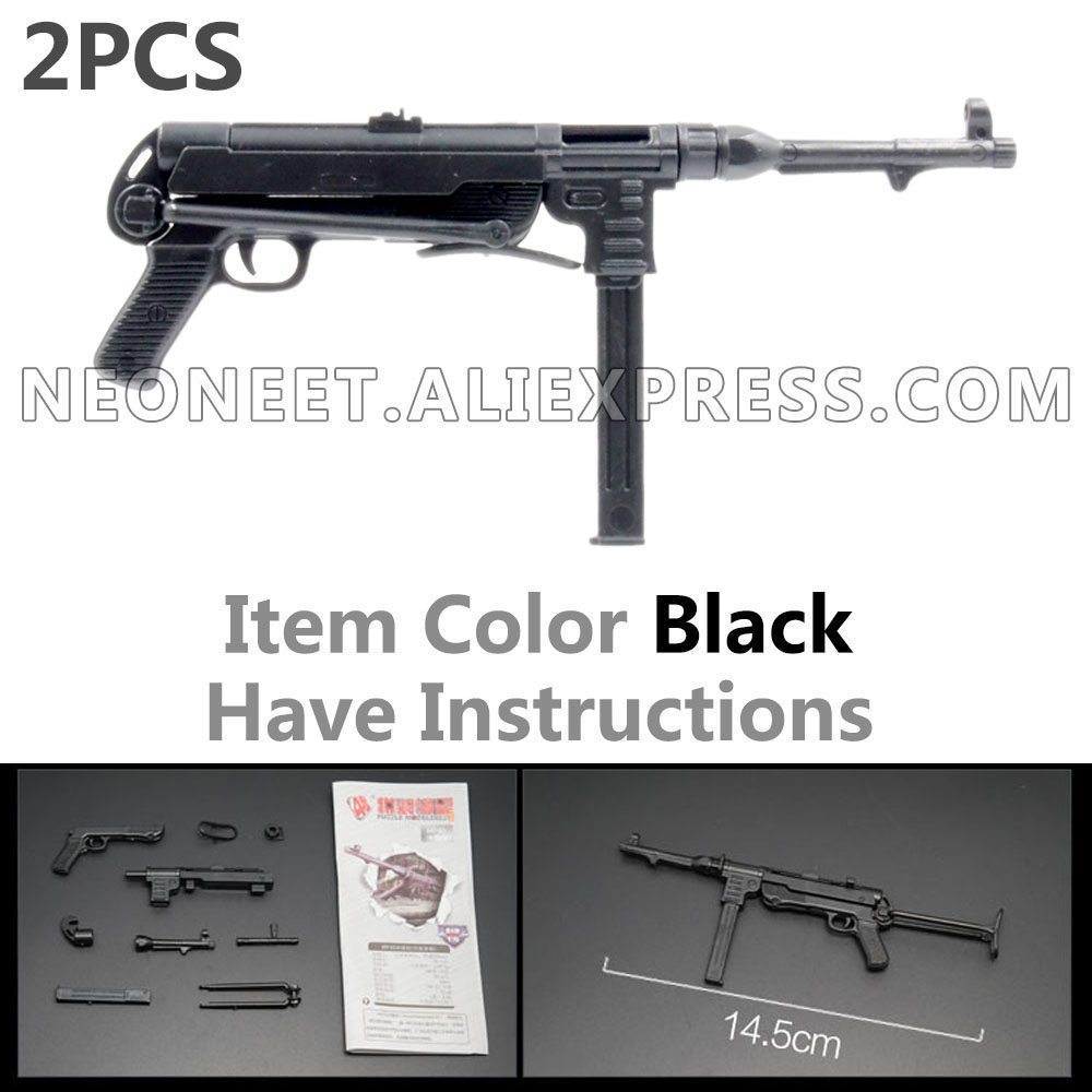 1:6 Avatar Assembly 4D Gun Model 1/6 WWII German Army Assault Submachine Gun <font><b>MP40</b></font> Soldier Weapon Plastic DAM Toys Hot Toys COD image