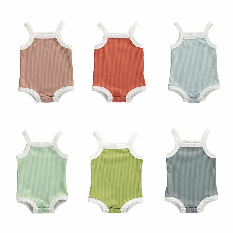 Baby Ribbed Knitted Rompers Overalls Newborn Baby Girls Boys Clothes Infantil Toddler Baby Sleeveless Rompers Jumpsuits 0-24M