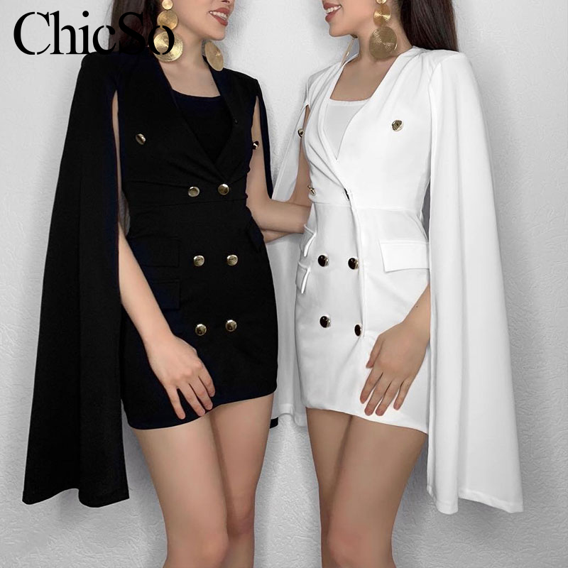 MissyChilli White Vneck Office Lady Cape Blazer Women Sexy Bodycon Elegant Jacket Blazer Female Fashion Autumnwinter Blazer Coat