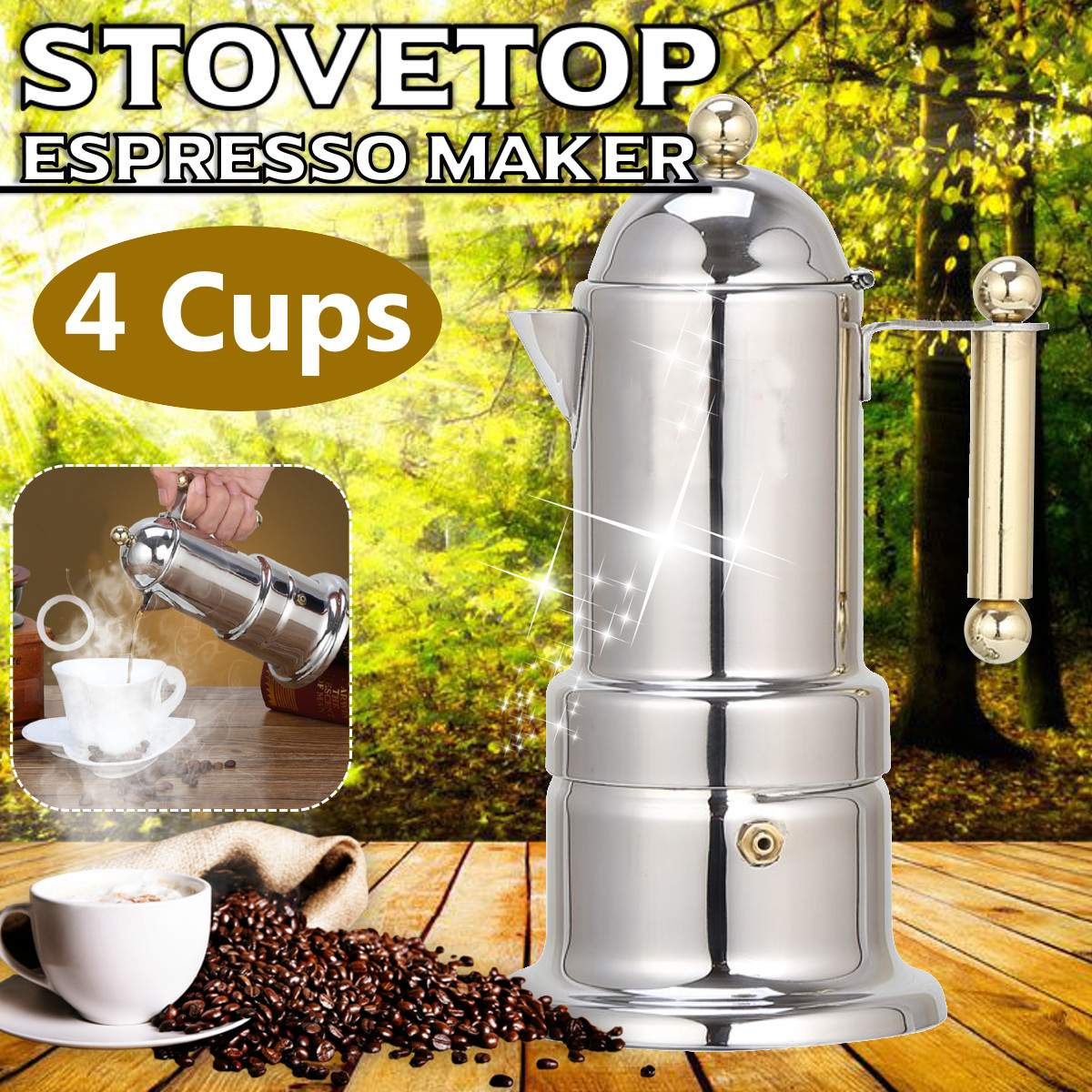 200Ml 4 Cups Stainless Steel Coffee Pot Moka Coffee Maker Teapot Filter Automatic Coffee Machine Espresso Machine