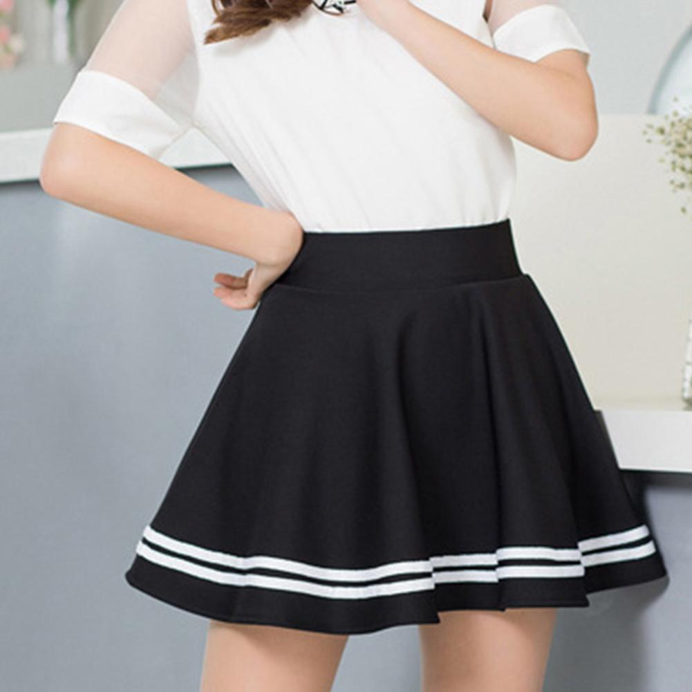 Women Fashion Solid Color High Waist Stripe Pleated A Line Mini School Skirt