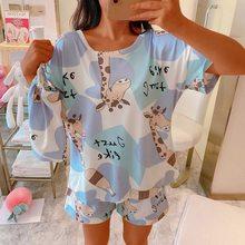 Jodimitty 2021 solto casual pijamas bonito verão conjunto de pijamas para mulher pijamas t-shirts e shorts estampado menina pjs homewear