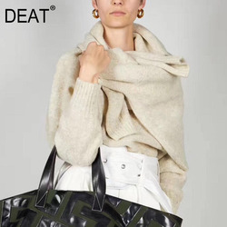 DEAT autumn and winter fashion scarf cross neck full sleeves mohair cashmere knits pullover sweater WJ13604L new arrivals