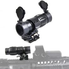 3X Magnifier Scope Sight with Flip Side 20mm Mount Picatinny Weaver Rail, Quick