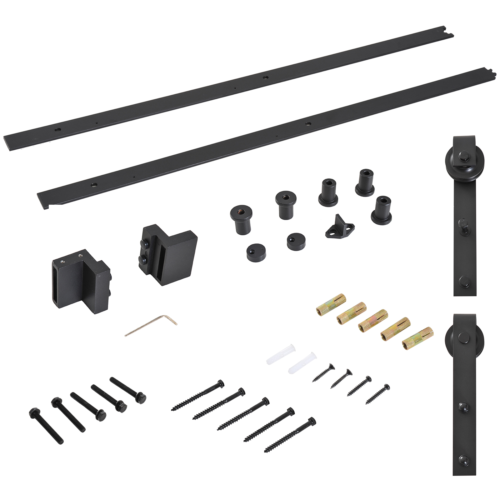 HOMCOM Rail For Sliding Door Rustic Accessories Kit With Carbon Steel Roller Caps Thick 3,4-4cm Black
