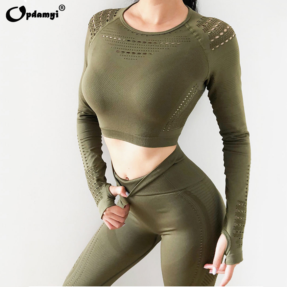 Fitness Sports Yoga Set Women Gym Workout Clothes Knit Long Sleeve Hollow-out Mesh Crop Top Seamless High Waist Yoga Leggings