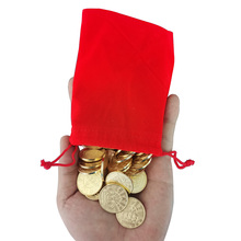 100pcs 25*1.8mm Brass Game Token With High Quality Red Cloth Bag Brass Arcade Game Coin Pentagram Crown Tokens