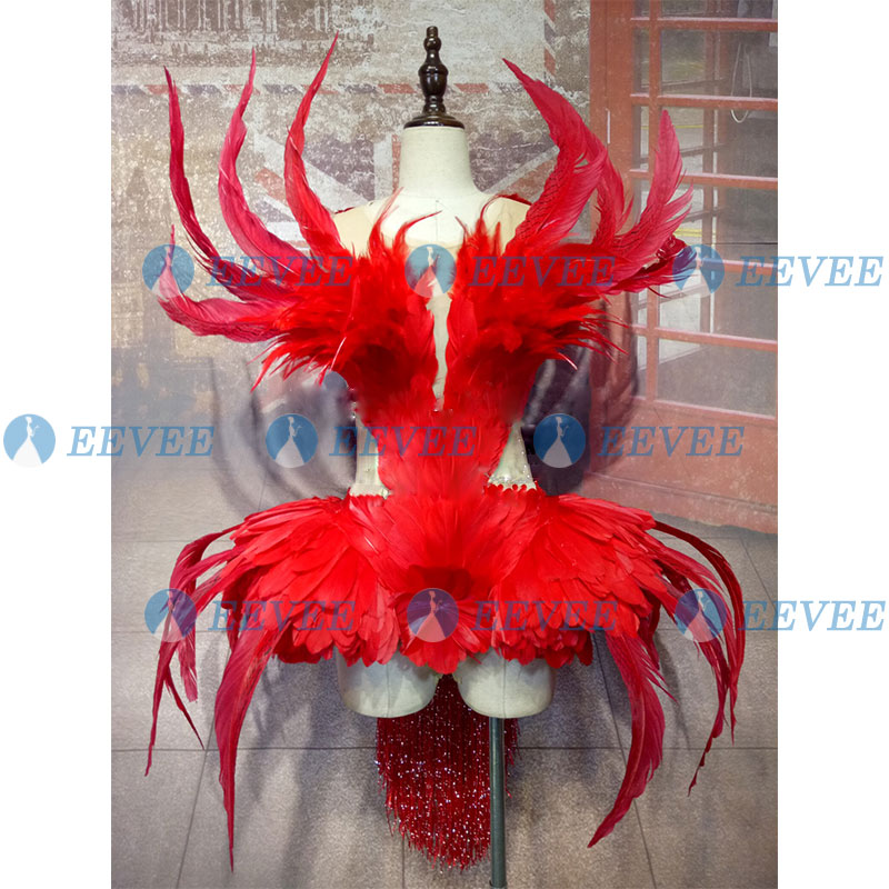 Red Feather Stage Costume Sexy See Thought Female Singer Performance Outfit Bar Nightclub DS DJ Party Rave Bodysuit