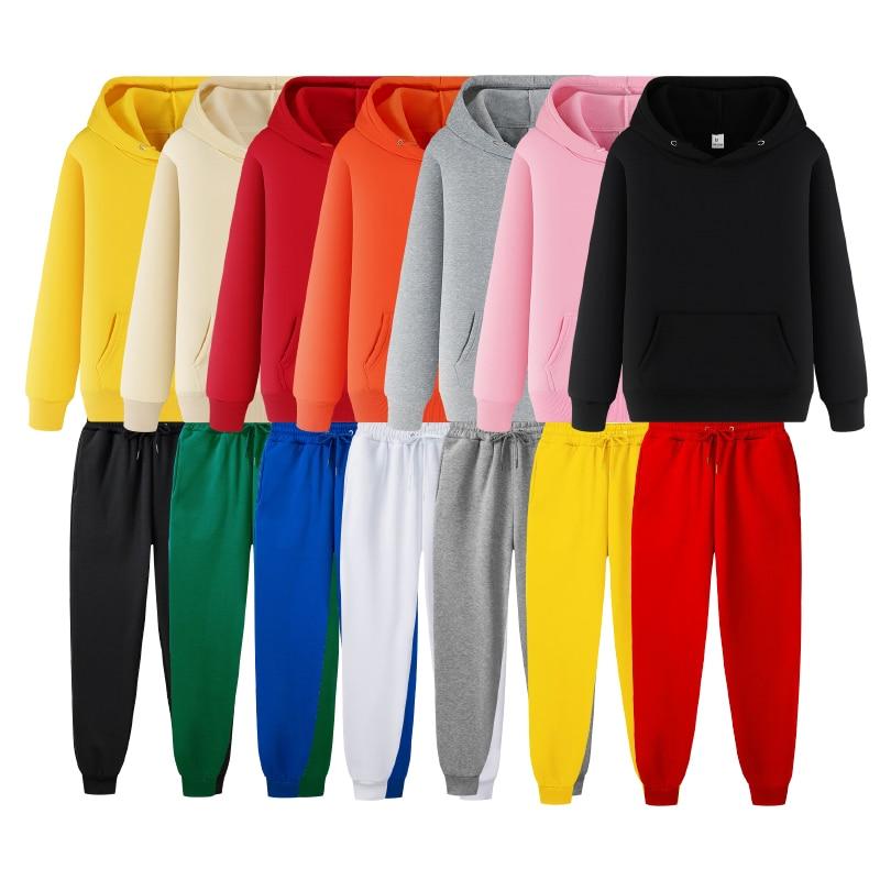 Brand Hoodie Fashion Pant Suit Men Winter Sweatshirt Suit Fleece Jogger Tracksuit Suits Men Pullover Black Tracksuit Suits 3XL