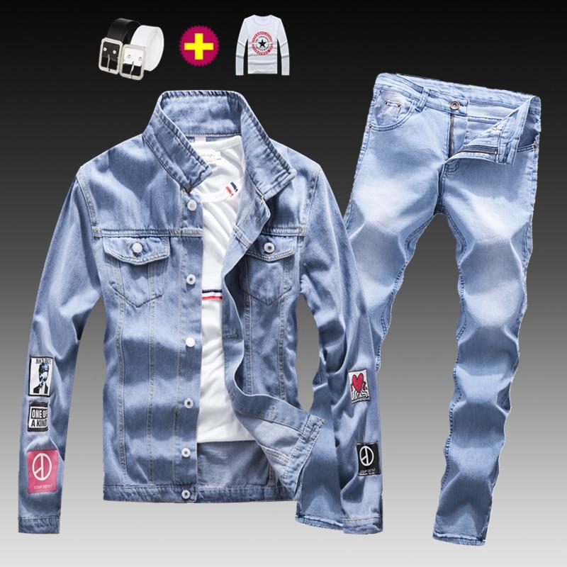 Fashion Mens Washed Denim Jacket Jeans Pants 2pcs Set Appliques Long Sleeve Coat Casual Slim Fit Boys Clothing S-XXXL Autumn E21