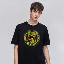 Cobra kai impressão de manga curta t camisa homem harajuku moda topos casual hip hop masculina tshirts alta qualidade retro roupas masculinas