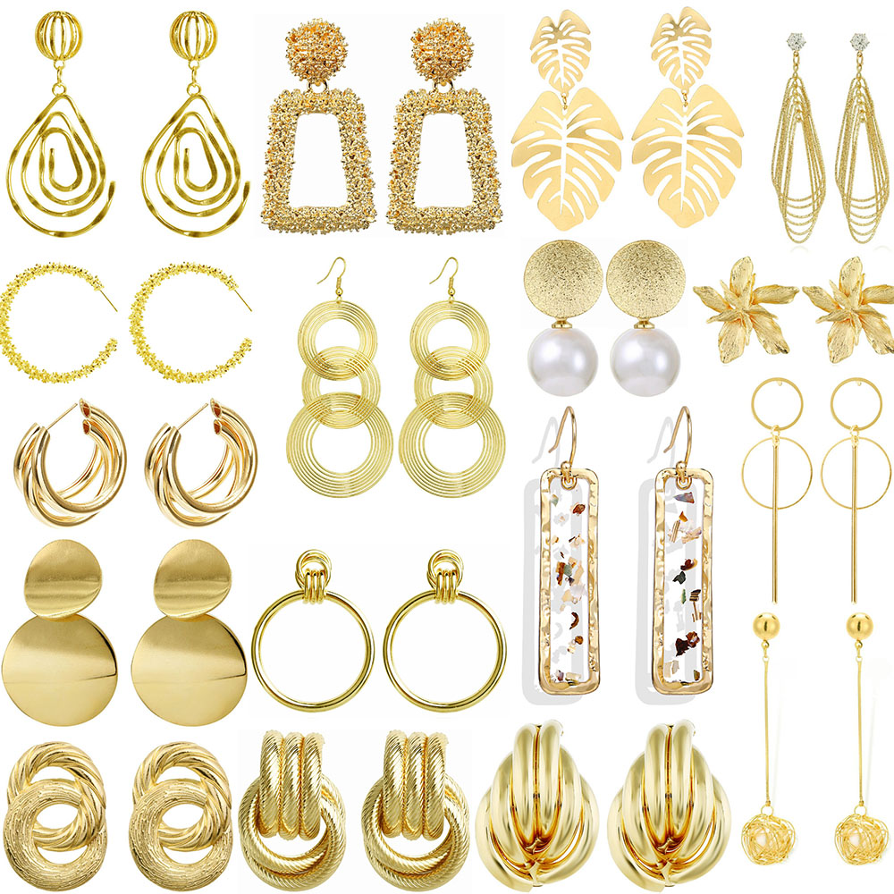 2020 Big Earrings For Women Hanging Dangle Modern Party Circle Simple Trend Exaggeration Girls Gold Female