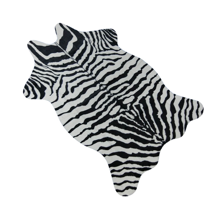 Zebra/Cow Goat Printed Carpet Velvet Imitation Leather Rugs Cowhide Animal Skins Natural Shape Carpets Decoration Mats