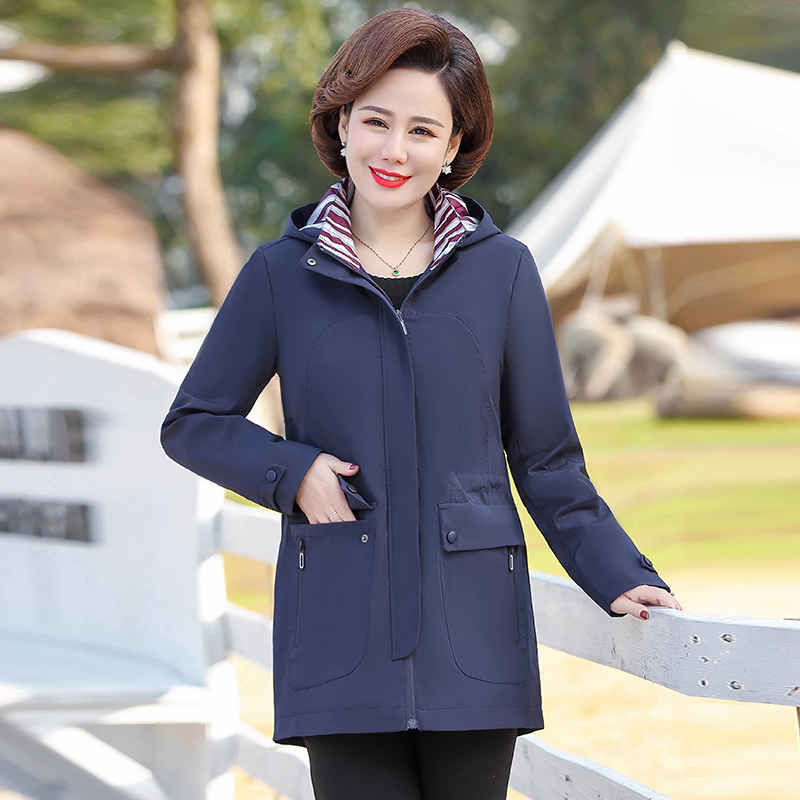 2020 New Spring Autumn Trench Coat Women Korean Fashion Loose Ladies Casual Windbreaker Hooded Coat  Middle-Aged Women's Tops