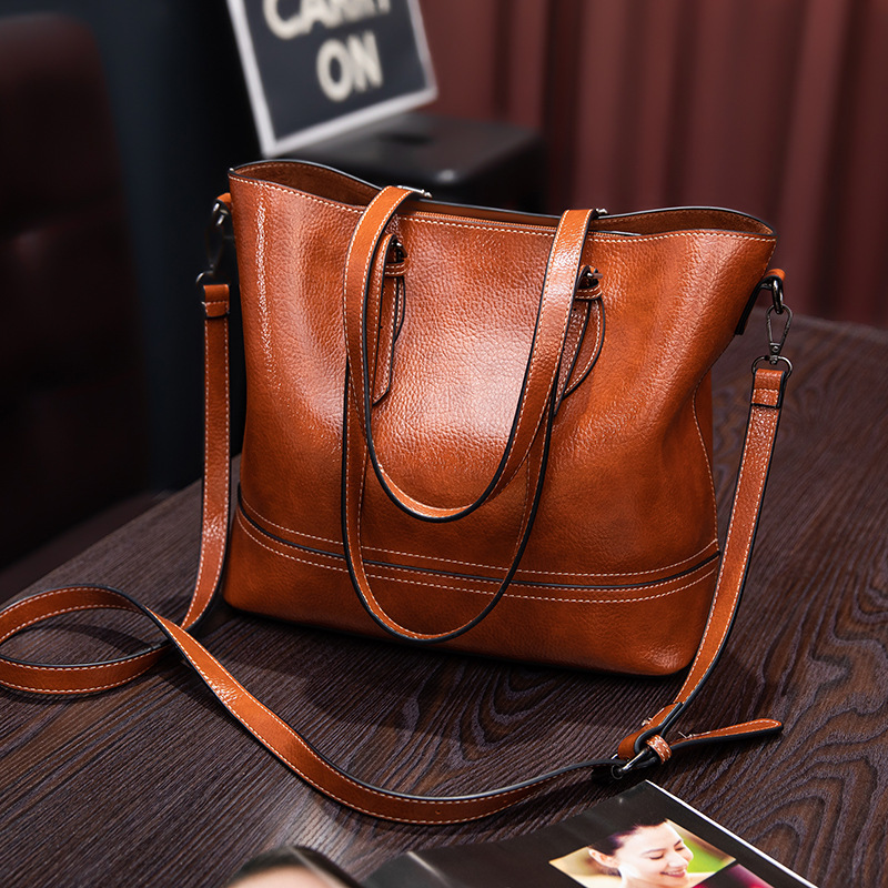 Genuine Leather Bag Handbag Women High Capacity Woman Tote Retro Simple Style Women Elegant Tote Bag Classic Shopper 2019 C1005