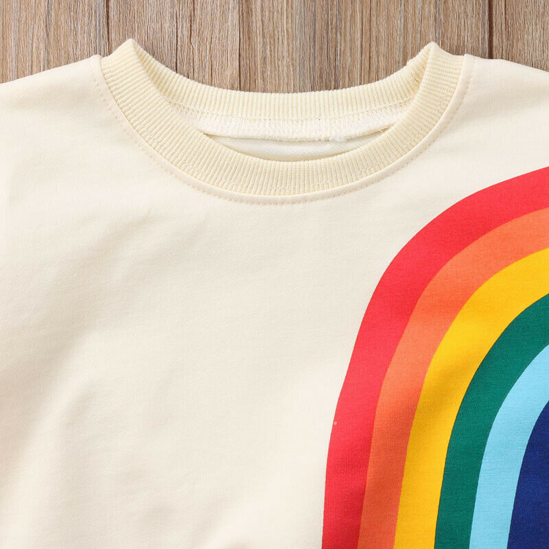 Autumn Toddler Baby Girls Kids Sweatshirts Tops Long Sleeve Rainbow T-Shirt Sweatshirt Clothes Outfit 1-6Y 4