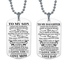Charm Mother Mom Love Son Daughter Necklaces Stainless Steel Dog Tag Pendant Necklacefamily Mum Mommy Boys Kids Gift Jewelry(China)