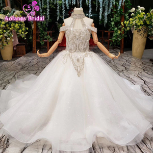 Image 1 - 2019 nouveau Bling Bling fleur fille Dresse pour fête de mariage filles Pageant robes cristlas première Communion robes pour petite fille