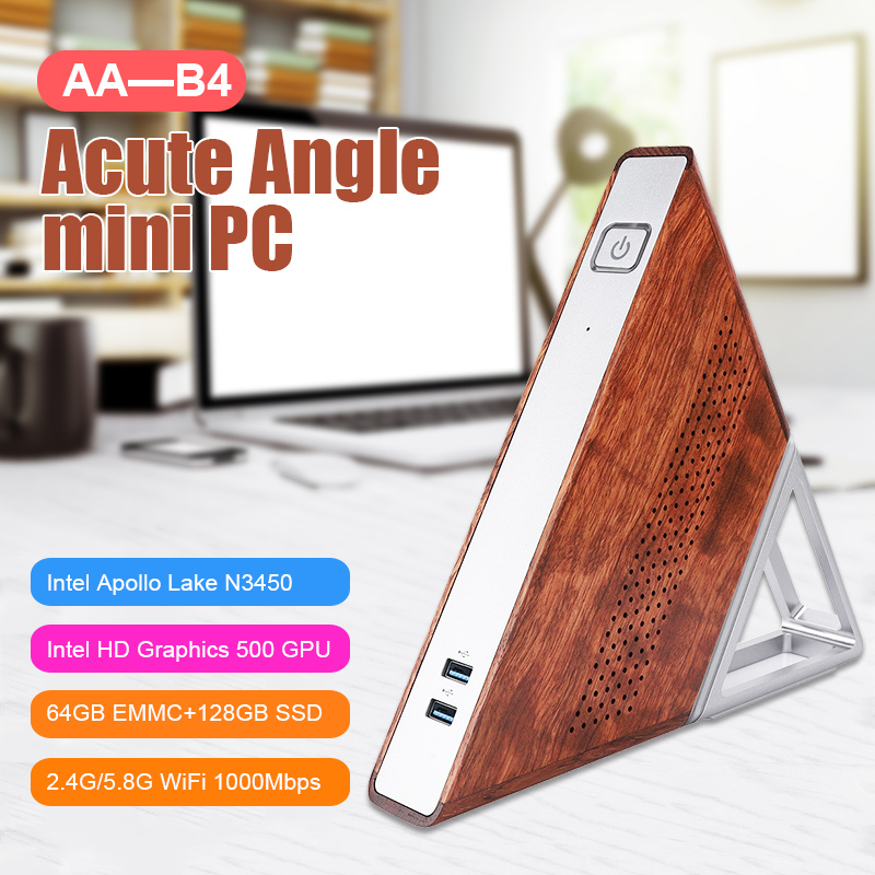 Acute Angle AA-B4 Mini Triangle Computer Host For Intel N3450 Quad-core 8G+192G 1.1GHz Up To 2.2GHz With Intel HD Graphics 500