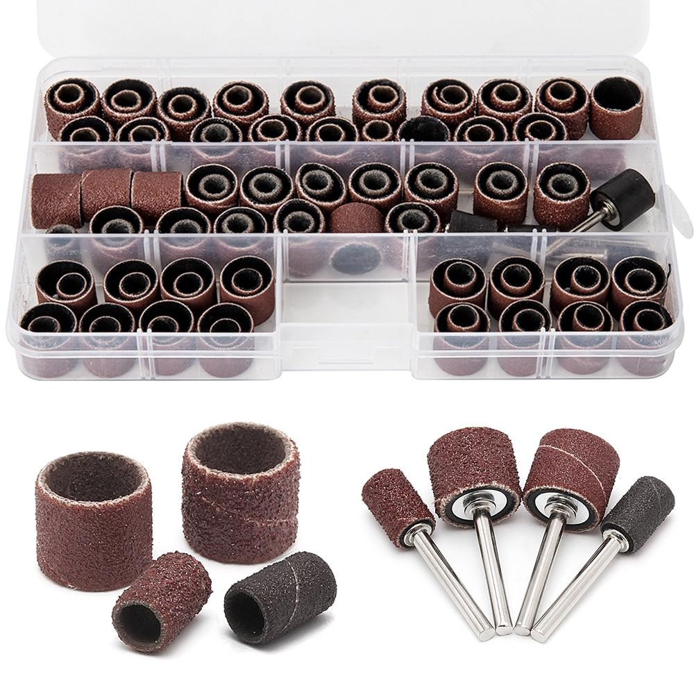 100PCS Drum Sanding Kit +4Pcs Band Mandrel  Rotary Tool Nail Drill Bits Abrasive Tools  Sander Drum Mandrel Rotary Accessories
