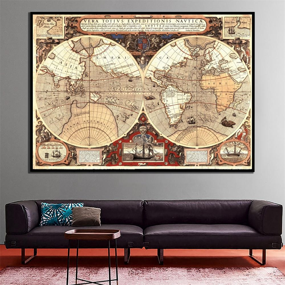 A2 Size HD Spray Painting World Map Fine Canvas Waterproof Retro Style Wall Decor Map Home Desk Art Crafts