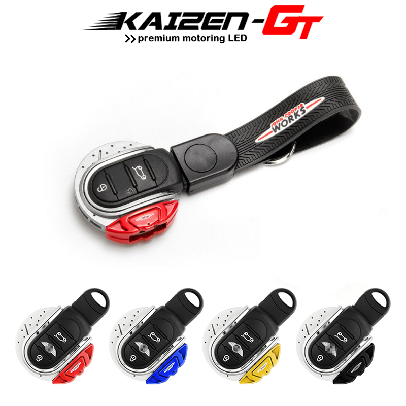 Smart Key Cover JCW Brake Disc Style Shape 3/4 button Key Fob Case Shell with Keychain Ring Belt For <font><b>MINI</b></font> Cooper F55 <font><b>F56</b></font> F57 F60 image