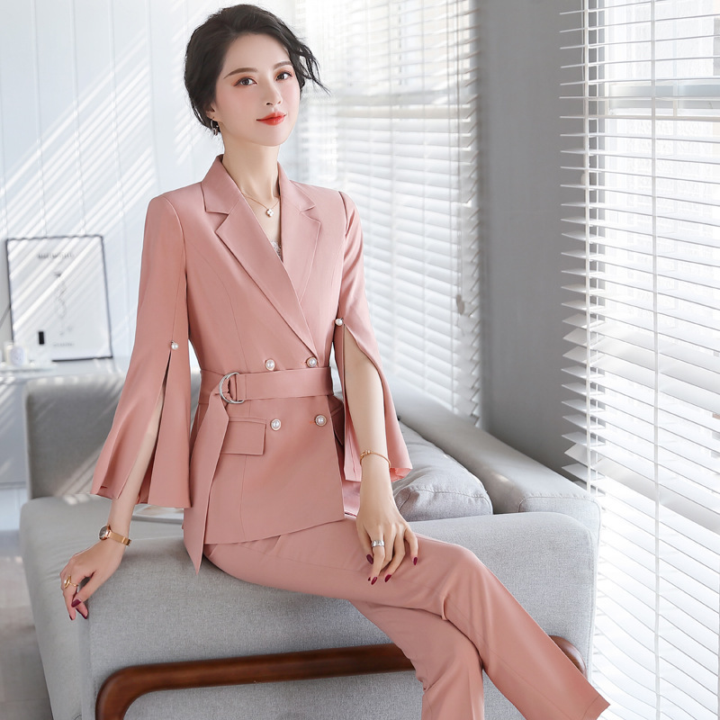 High quality professional female suit pants two-piece suit 2020 new autumn double breasted ladies Blazer Slim pants office