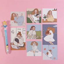Ins Gentle kawaii Girl Illustration Card Suit Postcard Bedroom Wall Decorative Cards Cute Stickers Stationery Diy Photo Props