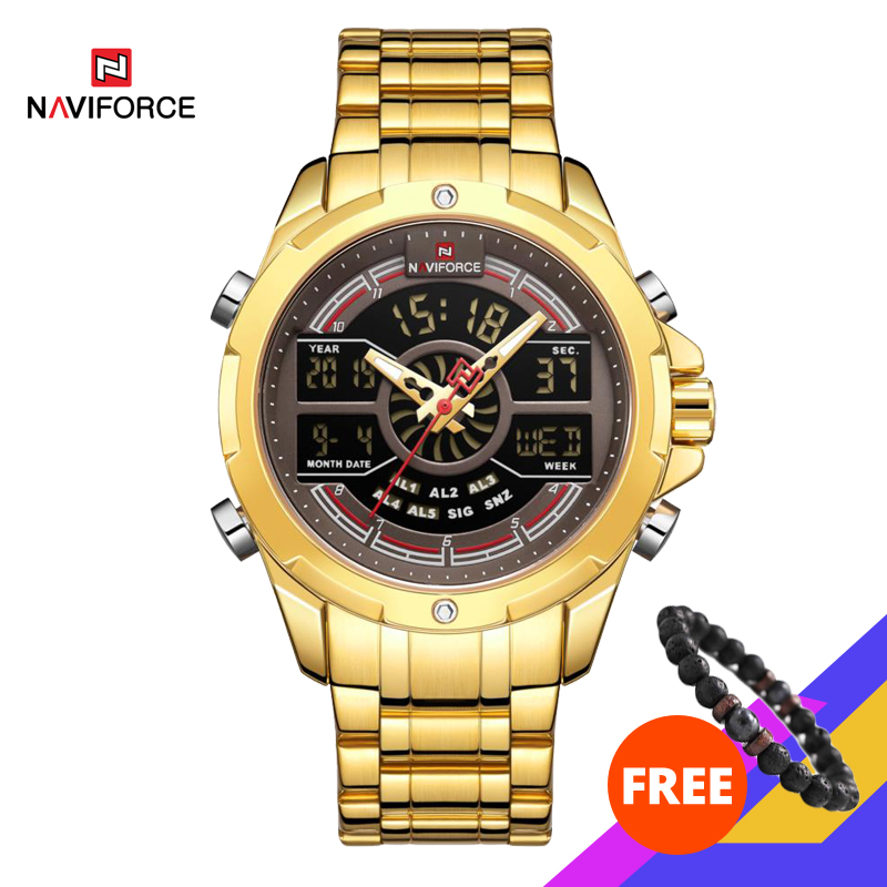 New NAVIFORCE Gold Men Watch Waterproof Sports Men's Quartz Wrist Watch Digital Male Top Brand Luxury Clock Relogio Masculino