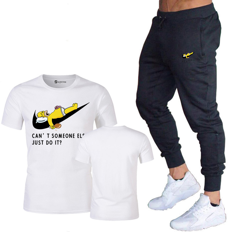 New To Create 2019 Brand High Quality Men's Cotton Sports Suit Printing T-shirt + Pants Suit Fitness Clothes Men's Casual Runnin