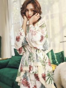 Image 4 - 2019 Spring Autumn Long Sleeve Cotton Pajamas Set 3 Pieces Set Women Sleepwear Sexy Nightwear For Women Sleeping Set M XL