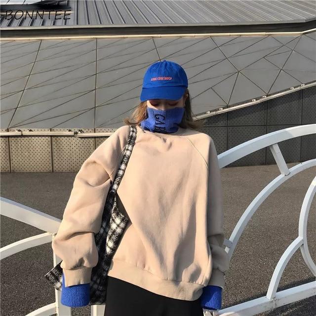Hoodies ผู้หญิงหนา Plus กำมะหยี่ยาวแขนเสื้อคอเต่าหลวมสตรี Hoodie นักเรียน All Match Harajuku อินเทรนด์ CHIC