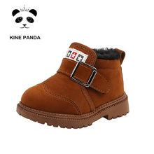 KINE PANDA Toddler Baby Boots Kids Shoes Warm Plush Boy Martin Boots 1 2 3 4 5 6 Years Old Winter Child Shoes Kindergarten(China)