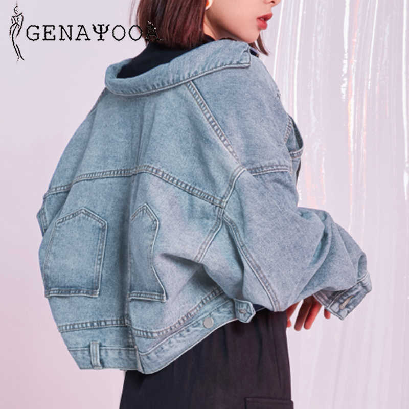 Genayooa Boyfriend Denim Short Jacket Woman Harajuku Autumn Coat Women Loose Jean Jacket Casual Denim Jackets Korean Style