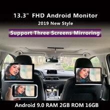 Ecran de voiture, repose tête avec moniteur tactile de 13.3 pouces avec moniteur tactile de 9.0 P en 4K et 1080P sur Android, prend en charge HDMI, prend en charge USB SD FM Mirror Link et crackast