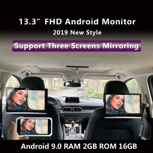 Monitor para reposacabezas de coche Android 13,3, pantalla táctil de 9,0 pulgadas, 4K, 1080P, WIFI, Bluetooth, USB, SD, HDMI, FM, mirrorlink, Miracast
