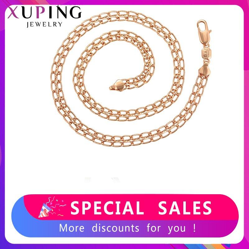 Xuping, Трендовое ожерелье, очаровательный стиль, розовое золото, цвет, покрытие для женщин, мужчин, День Святого Валентина, ювелирные изделия, подарки S115, 7 45052|Цепочки|   | АлиЭкспресс